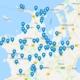 Kort over støttede projekter
