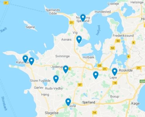 Kort over indstillede projekter